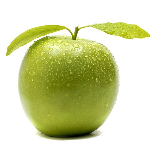 Green apple white background